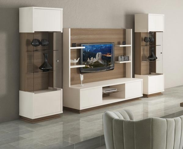 Evolve, Modern Tv Unit/optional Display Cabinets In Ivory/walnut Pertaining To 2017 Tv Display Cabinets (Image 9 of 20)