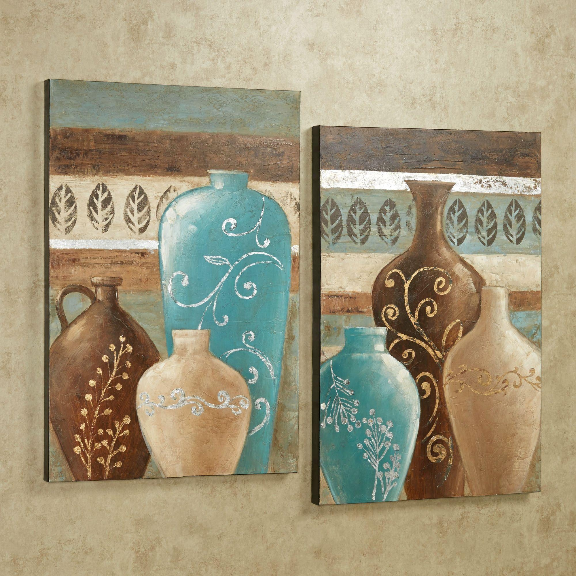 Exotic Vases Handpainted Canvas Wall Art Set For Teal And Brown Wall Art (Image 7 of 20)
