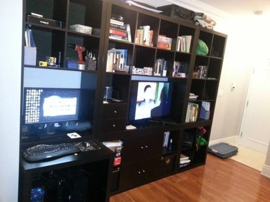 Expedit Wall Unit/tv, With Built In Desk – Ikea Hackers – Ikea Hackers In Most Popular Tv Stand And Computer Desk Combo (View 14 of 20)