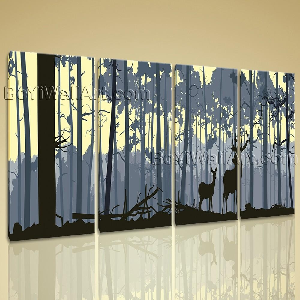 Extra Large Deer Forest Trees Animal Contemporary Wall Art Print Within Extra Large Contemporary Wall Art (Image 7 of 20)
