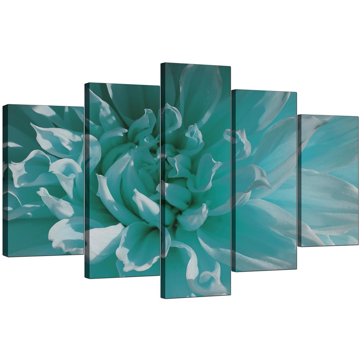 Extra Large Flower Canvas Wall Art 5 Piece In Teal Inside Teal Wall Art Uk (Image 6 of 20)