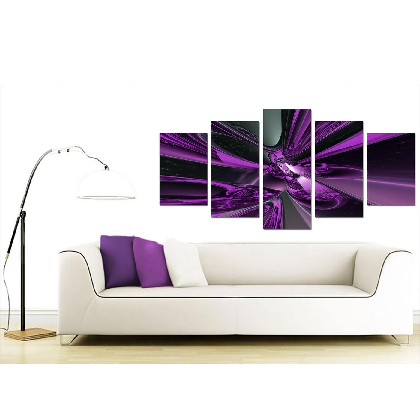 Extra Large Purple Abstract Canvas Prints Uk – 5 Piece In Five Piece Wall Art (View 9 of 20)