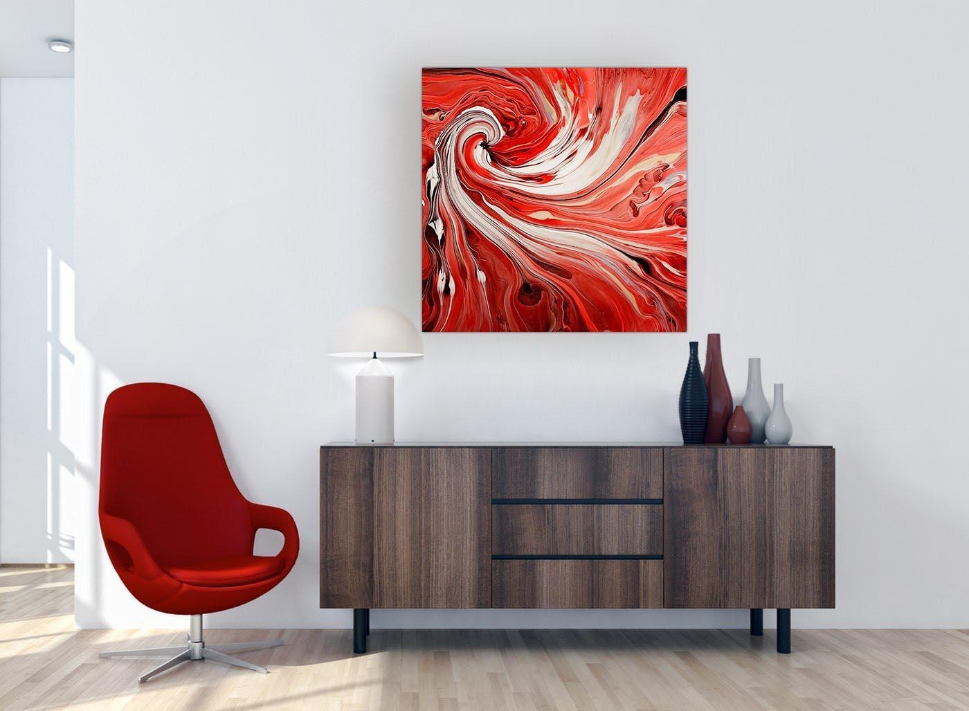 Extra Large Red Swirl – Abstract Canvas Modern – 79Cm Square – 1S265L Pertaining To Very Large Wall Art (Image 6 of 20)