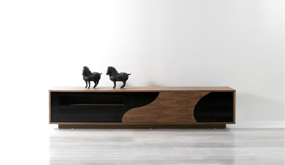 Extra Long Walnut And Black Media Center Tv Entertainment Unit For Current Long Tv Cabinets Furniture (Image 11 of 20)