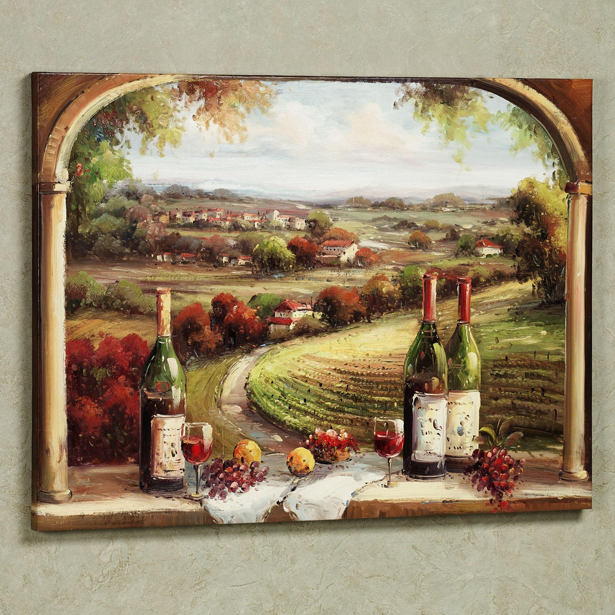 Fabulous Country And Wine Bottles Portray As Vintage Kitchen Wall Regarding Grape Vineyard Wall Art (View 17 of 20)