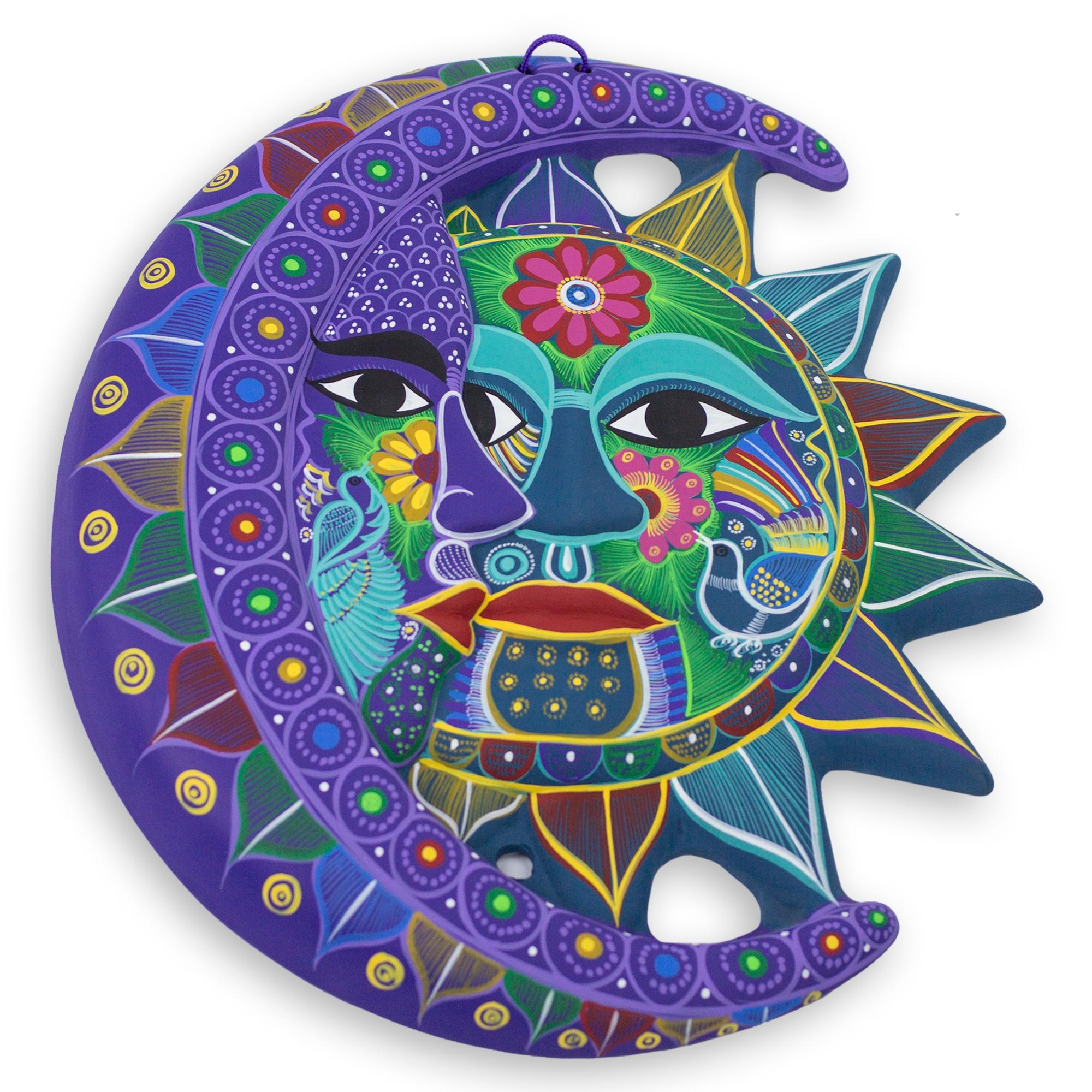 Fair Trade Sun And Moon Ceramic Wall Art – Turquoise Floral With Mexican Ceramic Wall Art (Image 2 of 20)