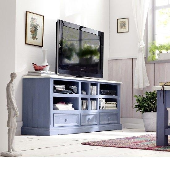 Falcon Tv Stand In Pine Wood In Blue And White 25360 For Latest Blue Tv Stands (View 5 of 20)