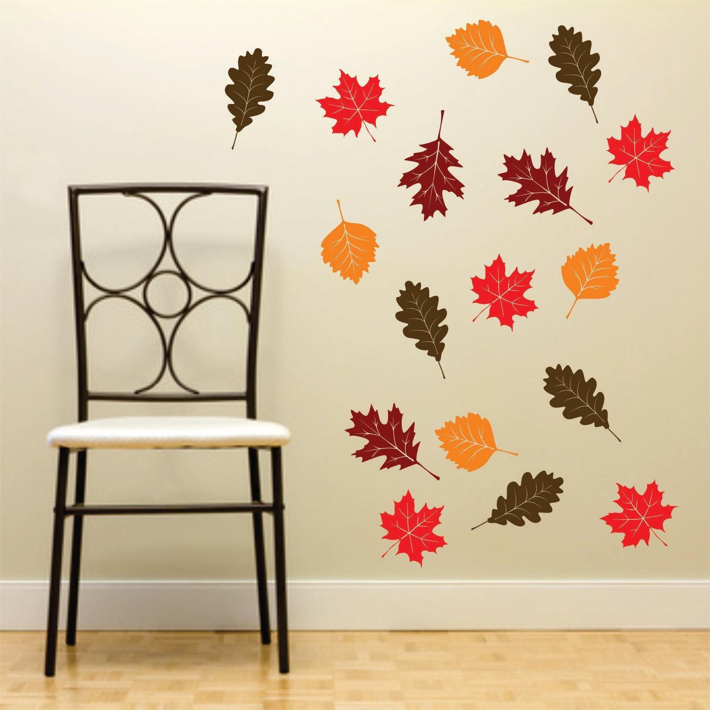 Fall Leaf Wall Decals Set Of 20 Autumn Leaves Vinyl Rub On Regarding Oak Tree Vinyl Wall Art (View 3 of 20)