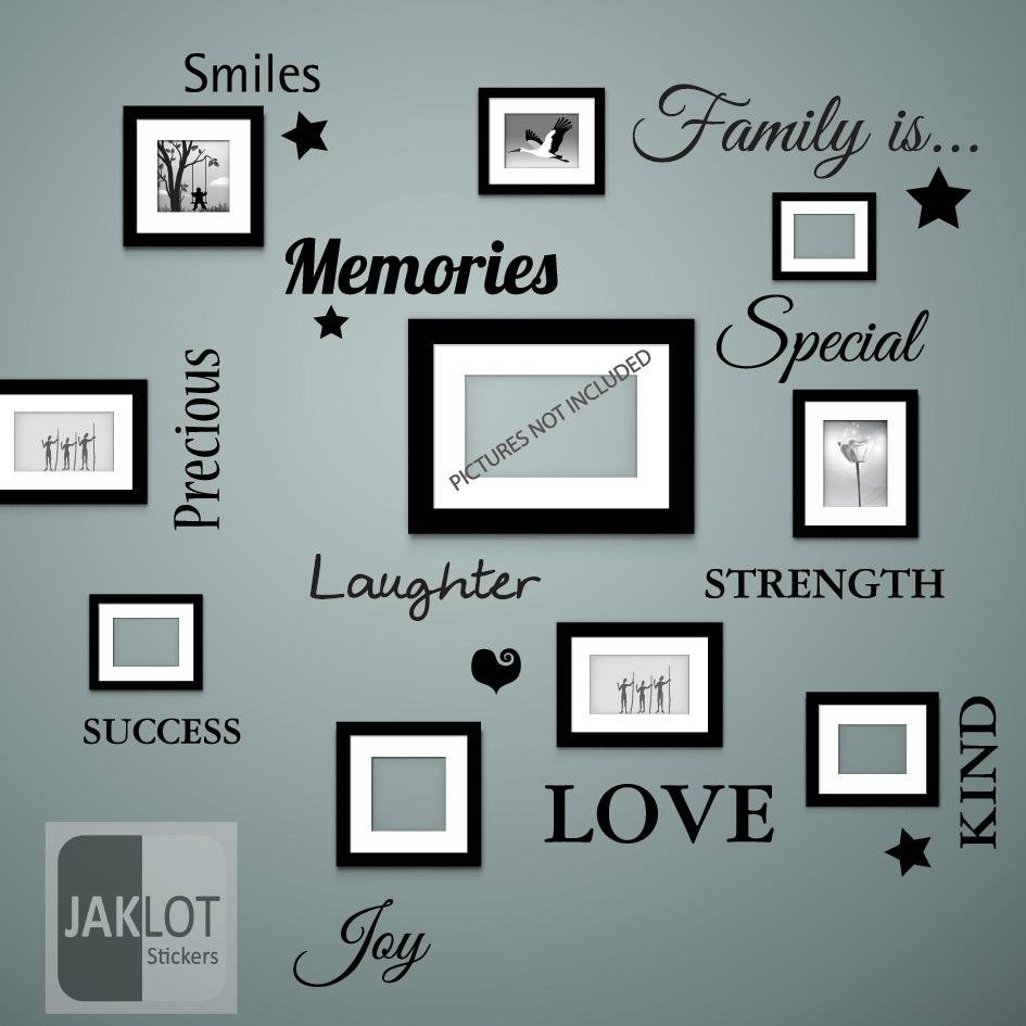 Family Is Words Wall Art Quote – Vinyl Decal Stickers For Picture With Family Wall Art Picture Frames (View 9 of 20)