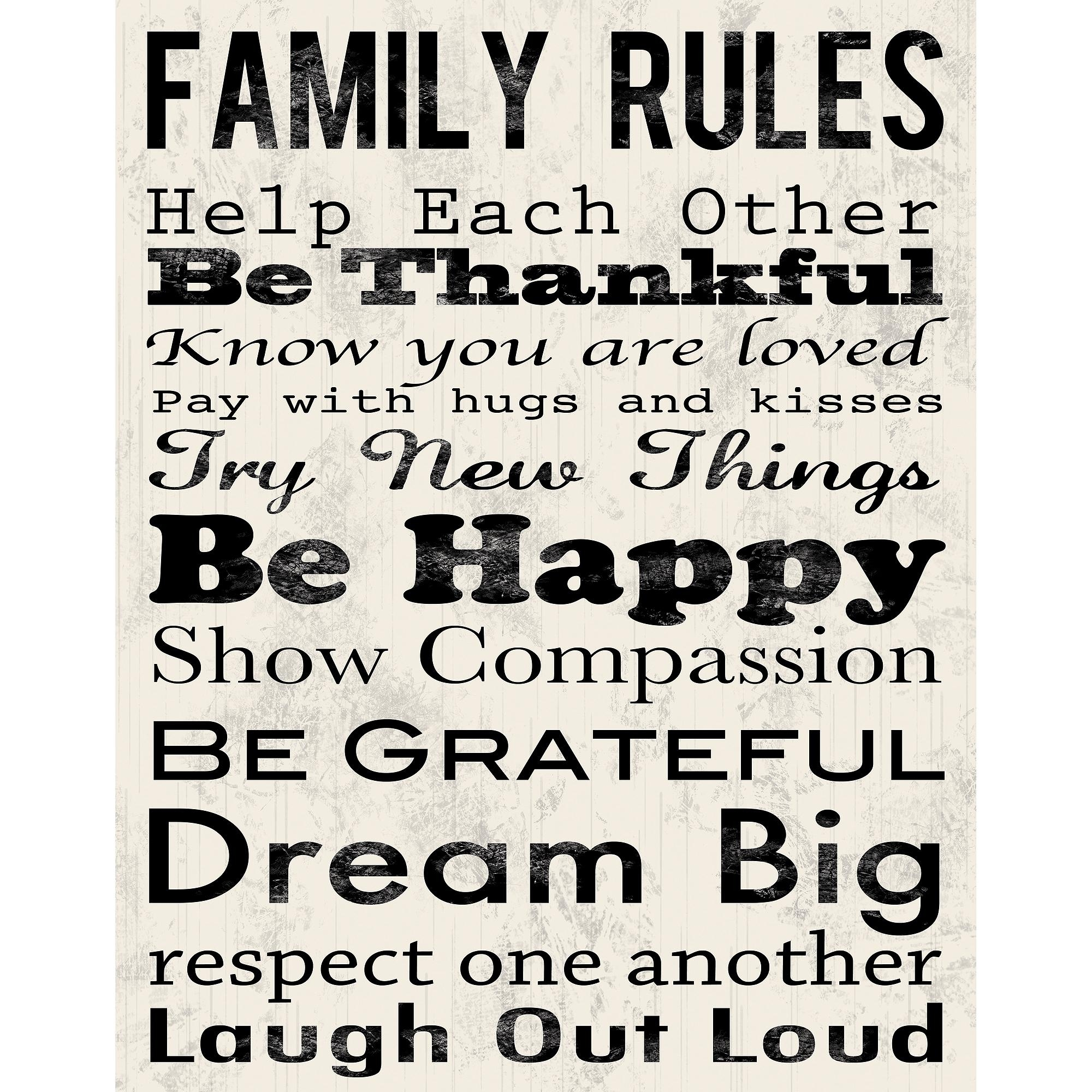 "Family Rules B Canvas Wall Art, 15"" X 19"" – Walmart Regarding Family Rules Canvas Wall Art (View 4 of 20)"