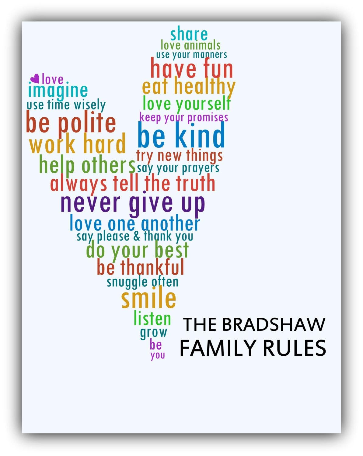 Family Rules Print Housewarming Gift Love Print Playroom Rules Throughout Playroom Rules Wall Art (View 9 of 20)