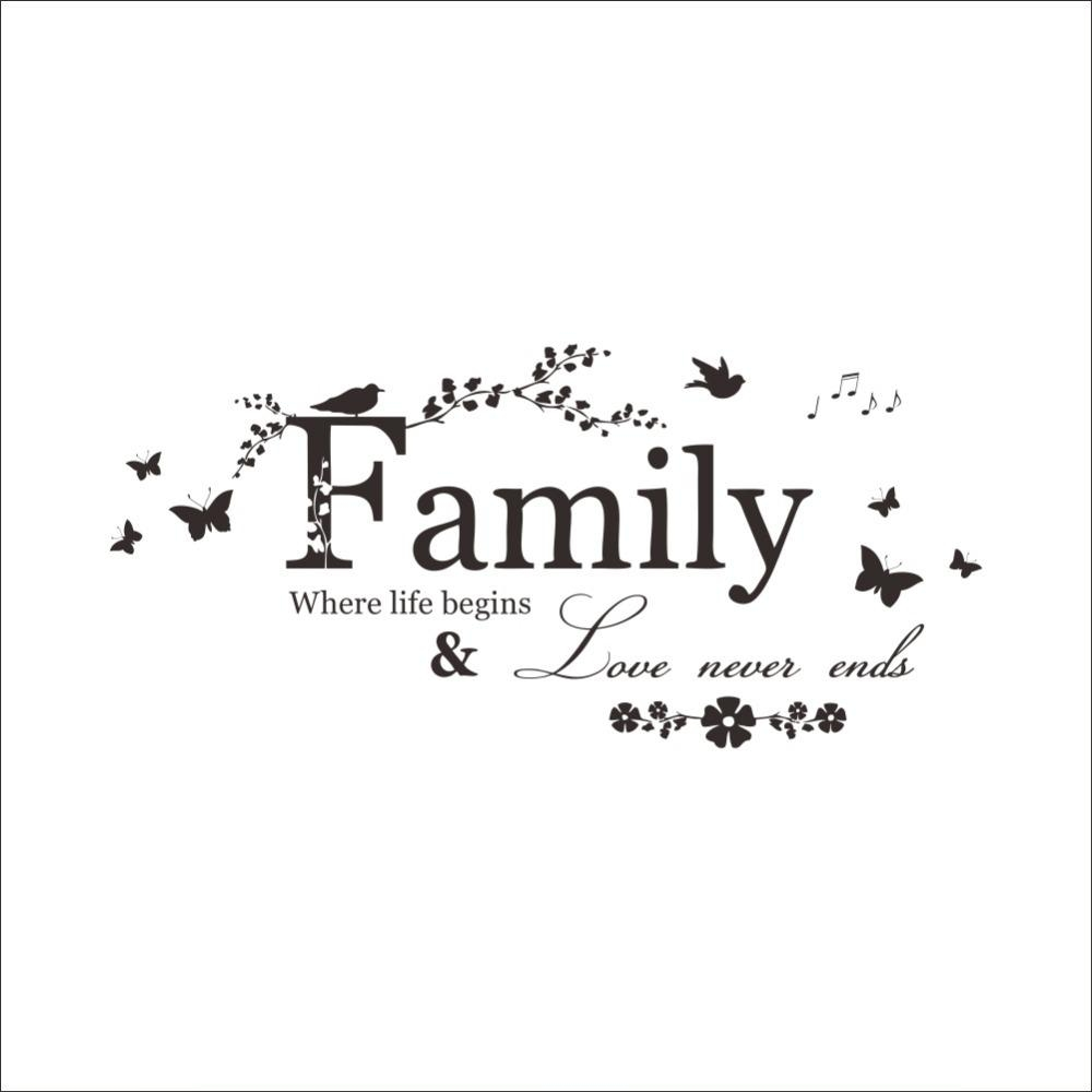 Family Where Life Begins & Love Never Ends Butterfly Flowers Black Regarding Family Sayings Wall Art (Image 8 of 20)