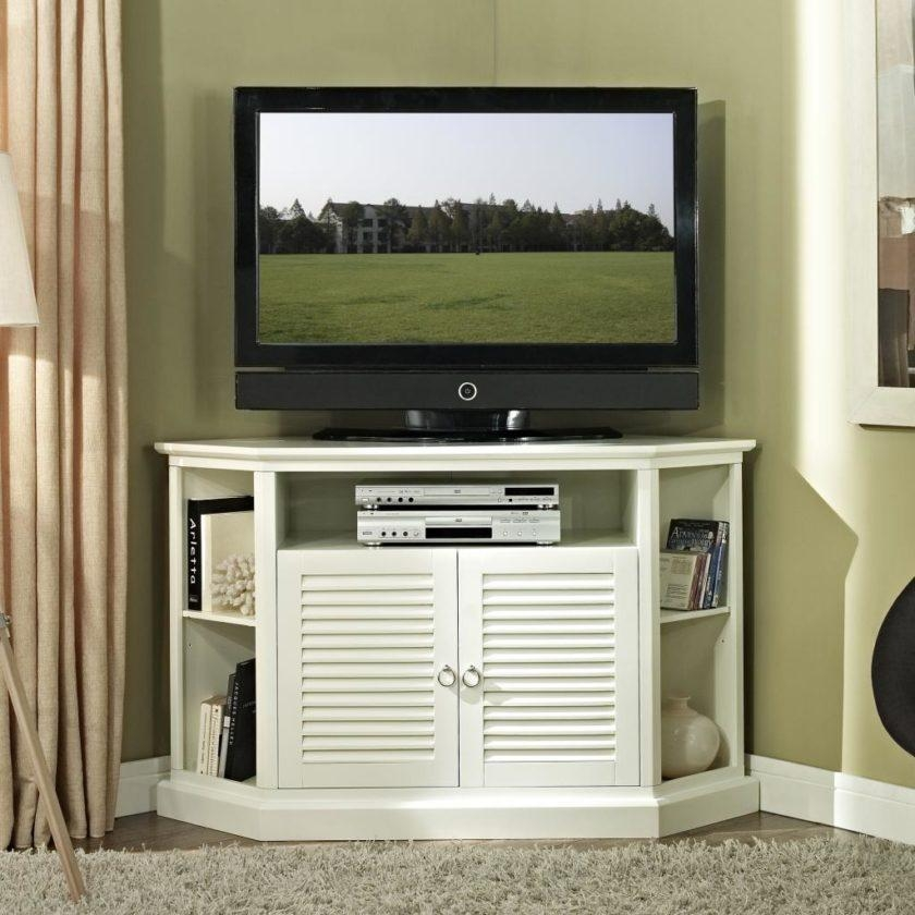 Fancy White Painted Mahogany Wood Tall Corner Tv Stand For Bedroom With Regard To Best And Newest Mahogany Corner Tv Stands (Image 15 of 20)