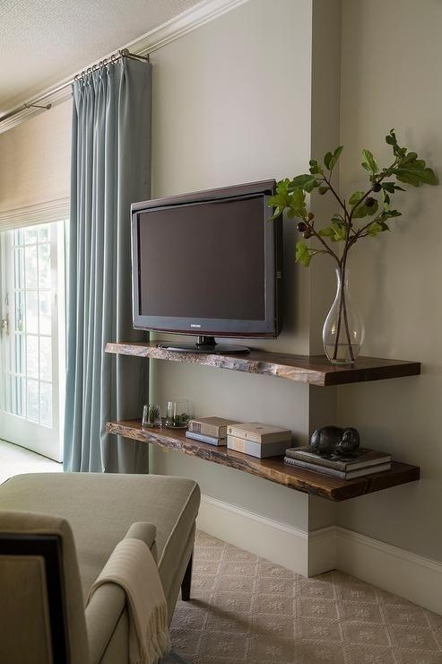 Fantastic Bedroom Features A Chaise Lounge Facing Stacked Live Throughout Current Shelves For Tvs On The Wall (Image 12 of 20)