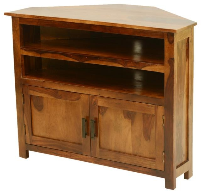 Farmhouse Indian Rosewood Corner Tv Media Stand With Best And Newest Walnut Corner Tv Stands (Image 9 of 20)