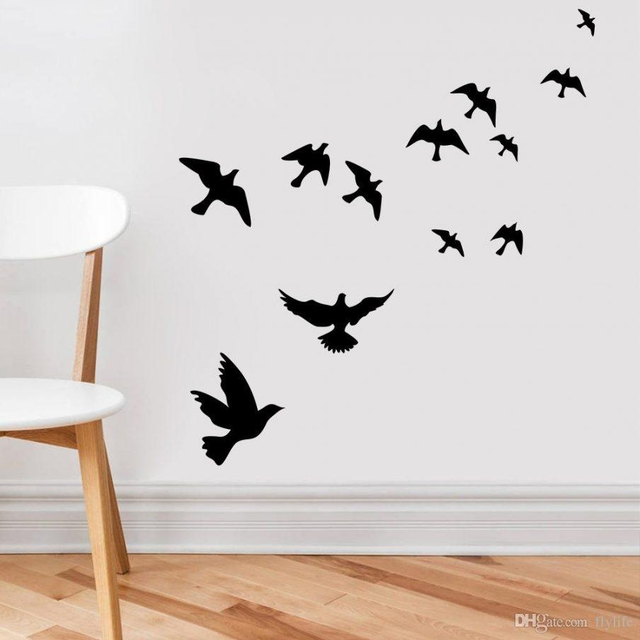 Fascinating Flying Birds Wall Art Metal Bird Sticker Wall Art Pertaining To Birds On A Wire Wall Art (Image 13 of 20)