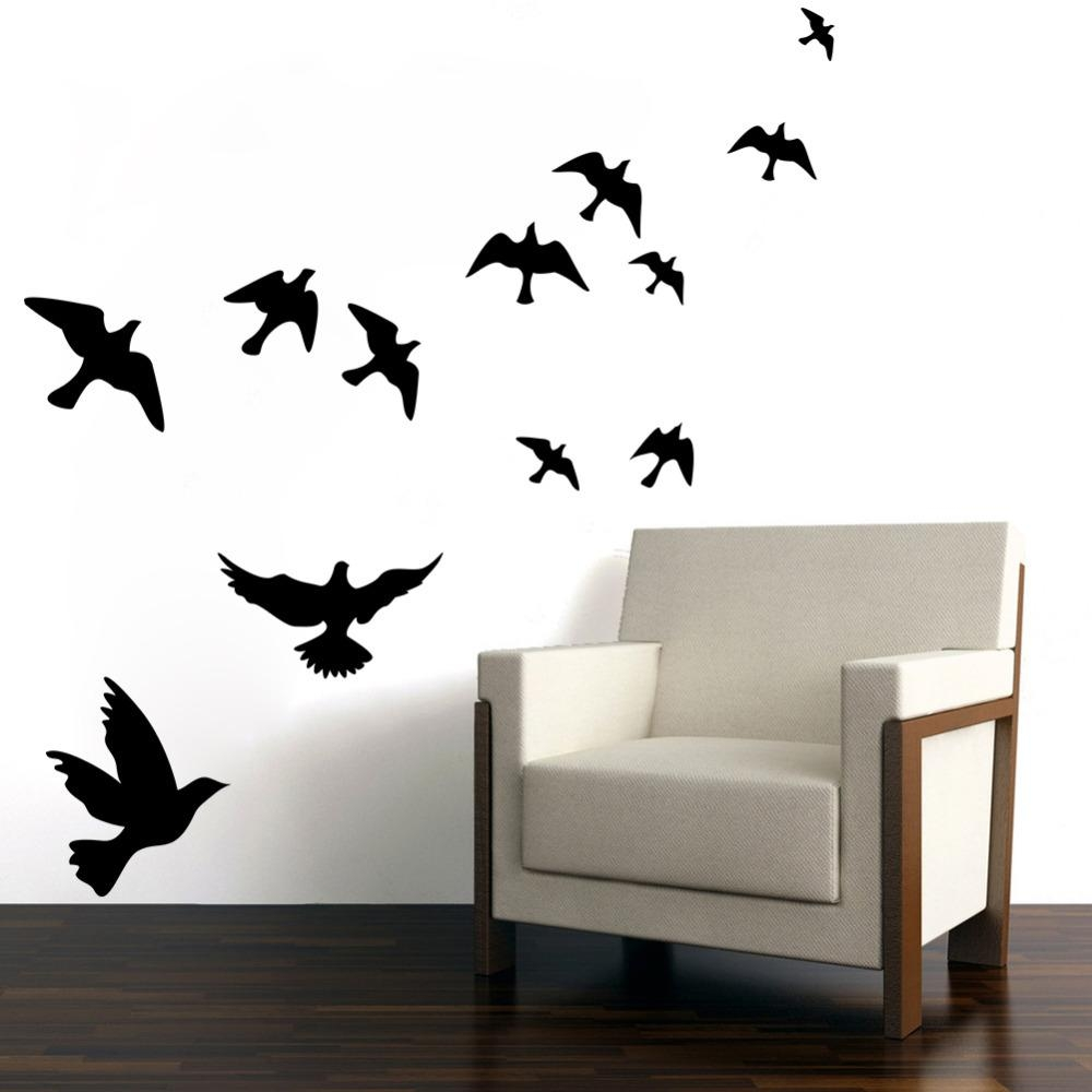 Fascinating Flying Birds Wall Art Metal Bird Sticker Wall Art Throughout Metal Flying Birds Wall Art (View 14 of 20)