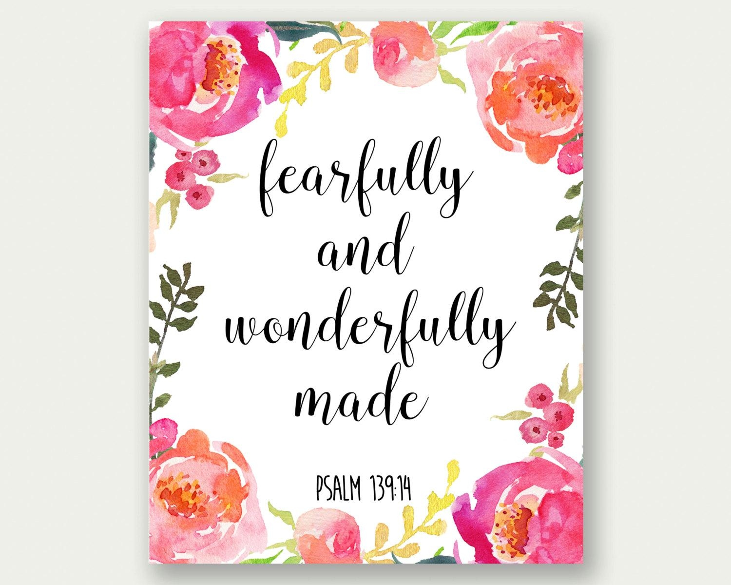 Fearfully And Wonderfully Made Psalm 139:14 Girl Nursery Pertaining To Fearfully And Wonderfully Made Wall Art (View 3 of 20)