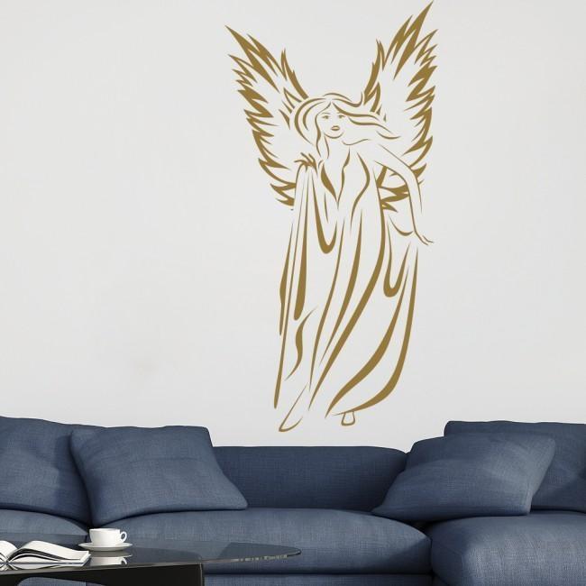 Female Angel Wall Stickers Angel Wall Art Regarding Angel Wing Wall Art (Image 12 of 20)