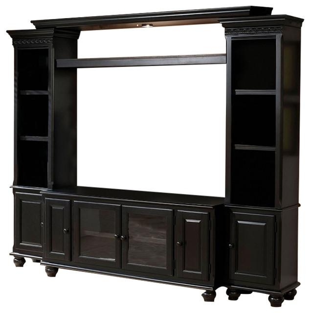 Ferla Traditional Black Entertainment Center Tv Stand Bridge Side With Most Up To Date Entertainment Center Tv Stands (View 6 of 20)