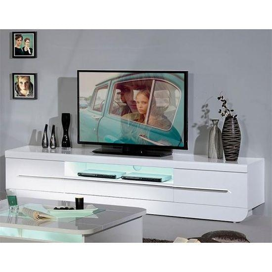 Fiesta Lcd Tv Stand In High Gloss White With Led Light | Tv Stands Intended For Recent High Gloss White Tv Stands (Image 8 of 20)