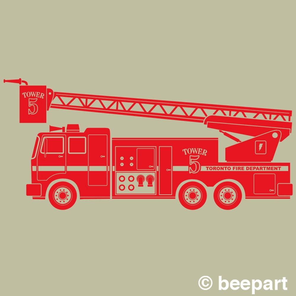 Fire Truck Wall Decal, Fire Truck Sticker Art, Boys Wall Decal Throughout Fire Truck Wall Art (View 15 of 20)