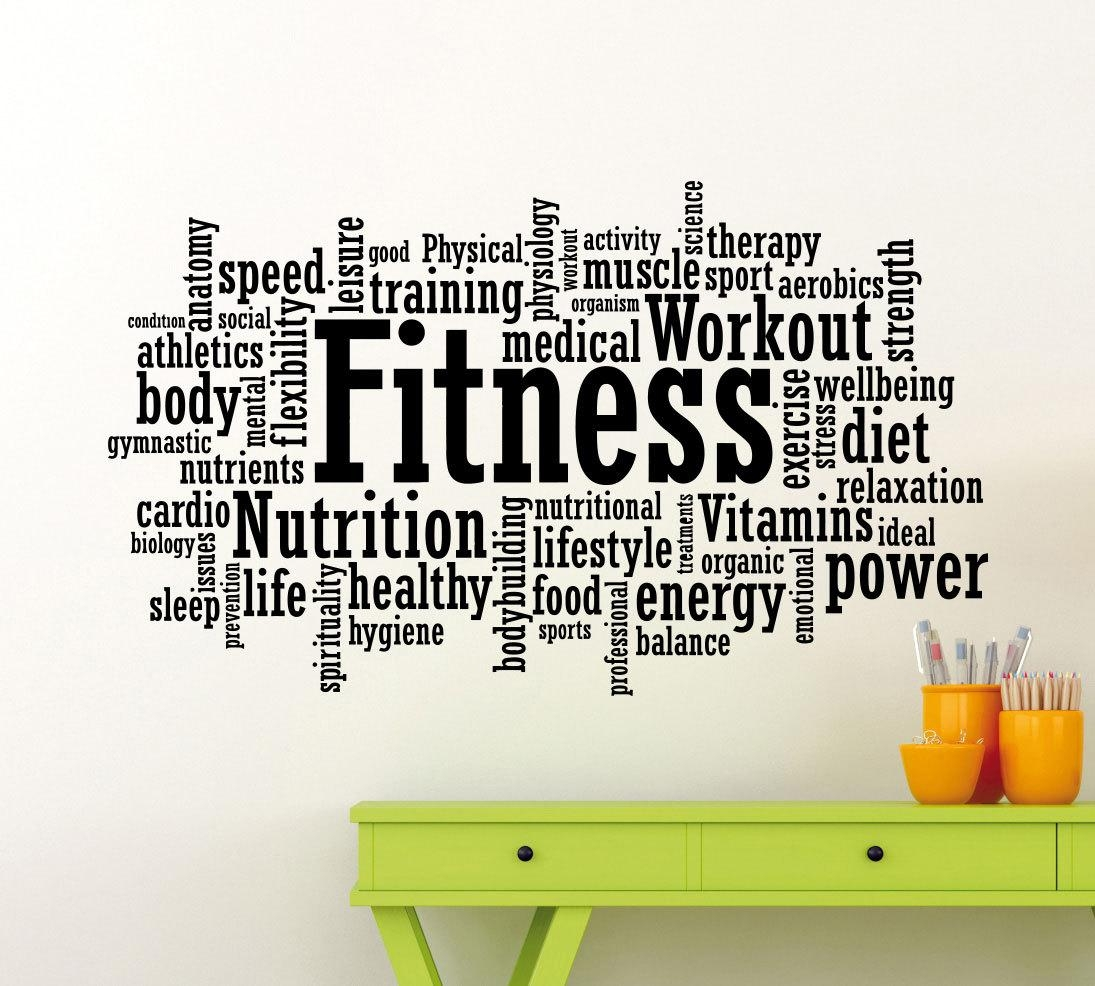 Fitness Decal Motivation Sticker Gym Wall Art Sports Training With Wall Art For Home Gym (Image 4 of 20)