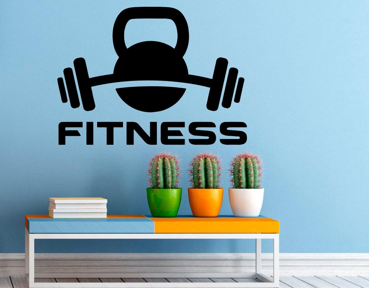 Fitness Wall Decal Gym Wall Stickers Sports Interior Bedroom Inside Wall Art For Home Gym (Image 6 of 20)