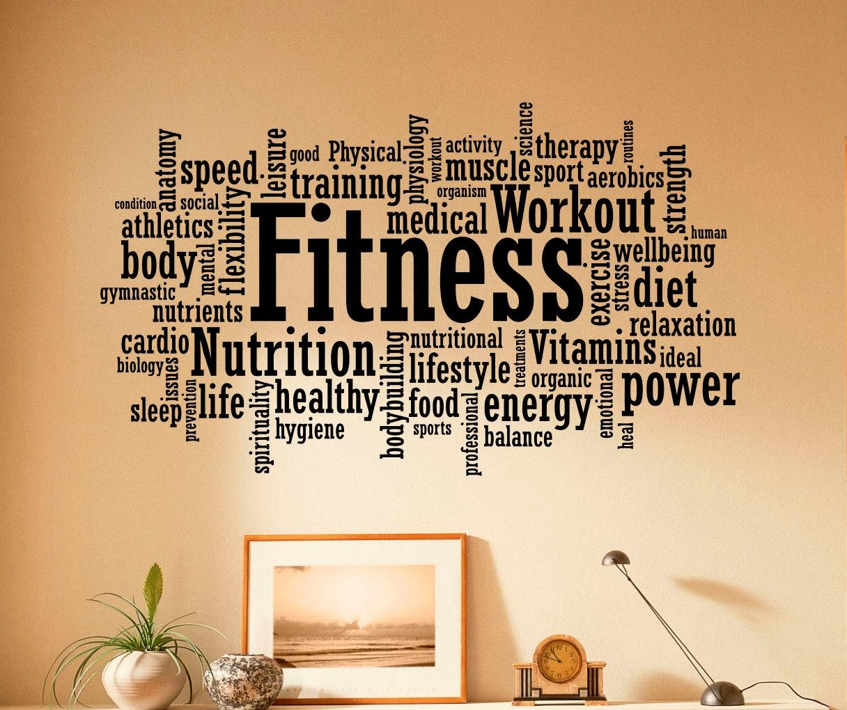 Fitness Wall Decal Vinyl Stickers Sport Gym Words Interior Regarding Wall Art For Home Gym (Image 7 of 20)