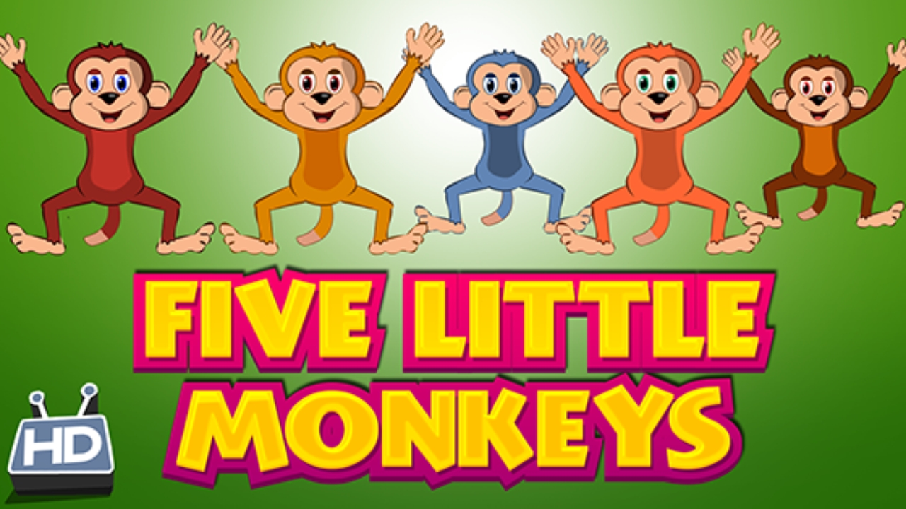 Five Little Monkeys Jumping On The Bed – Nursery Rhyme | Kids Hut Within No More Monkeys Jumping On The Bed Wall Art (View 14 of 20)