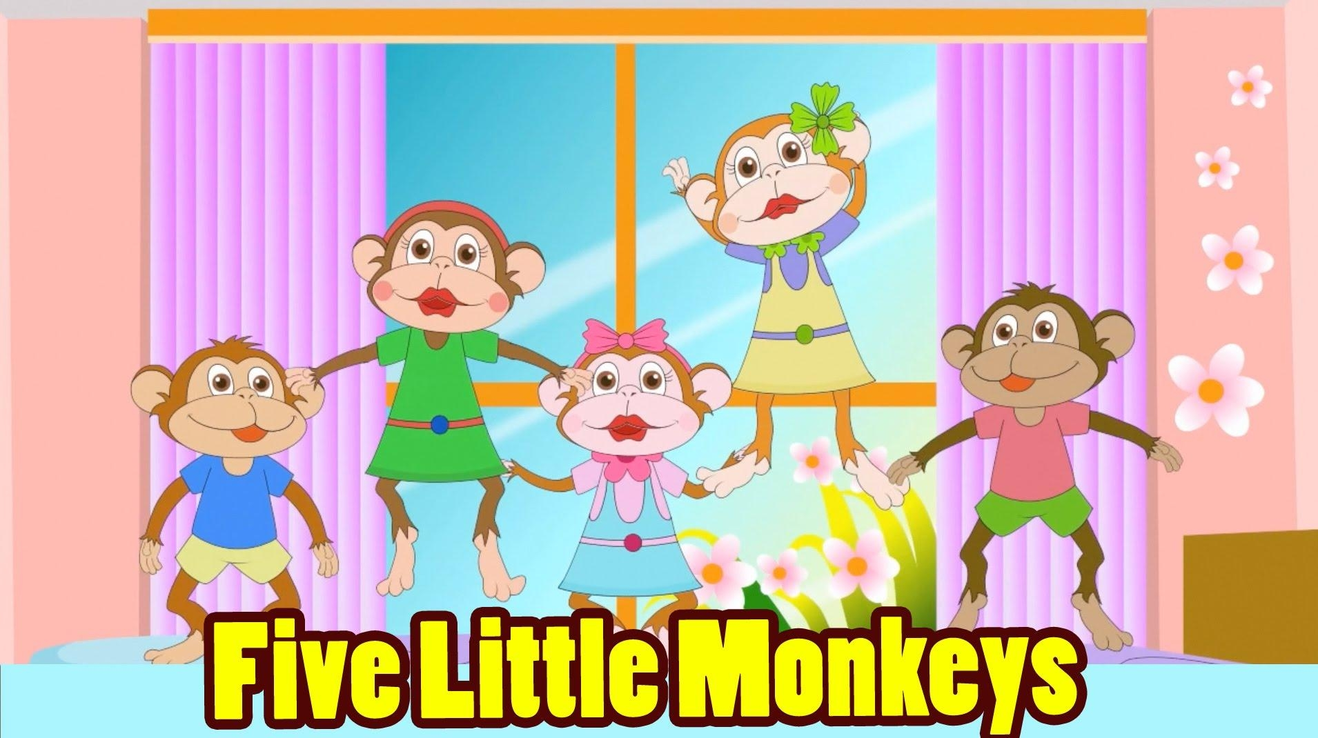 Five Little Monkeys Jumping On The Bed With Lyrics – Kids Songs Intended For No More Monkeys Jumping On The Bed Wall Art (Image 12 of 20)