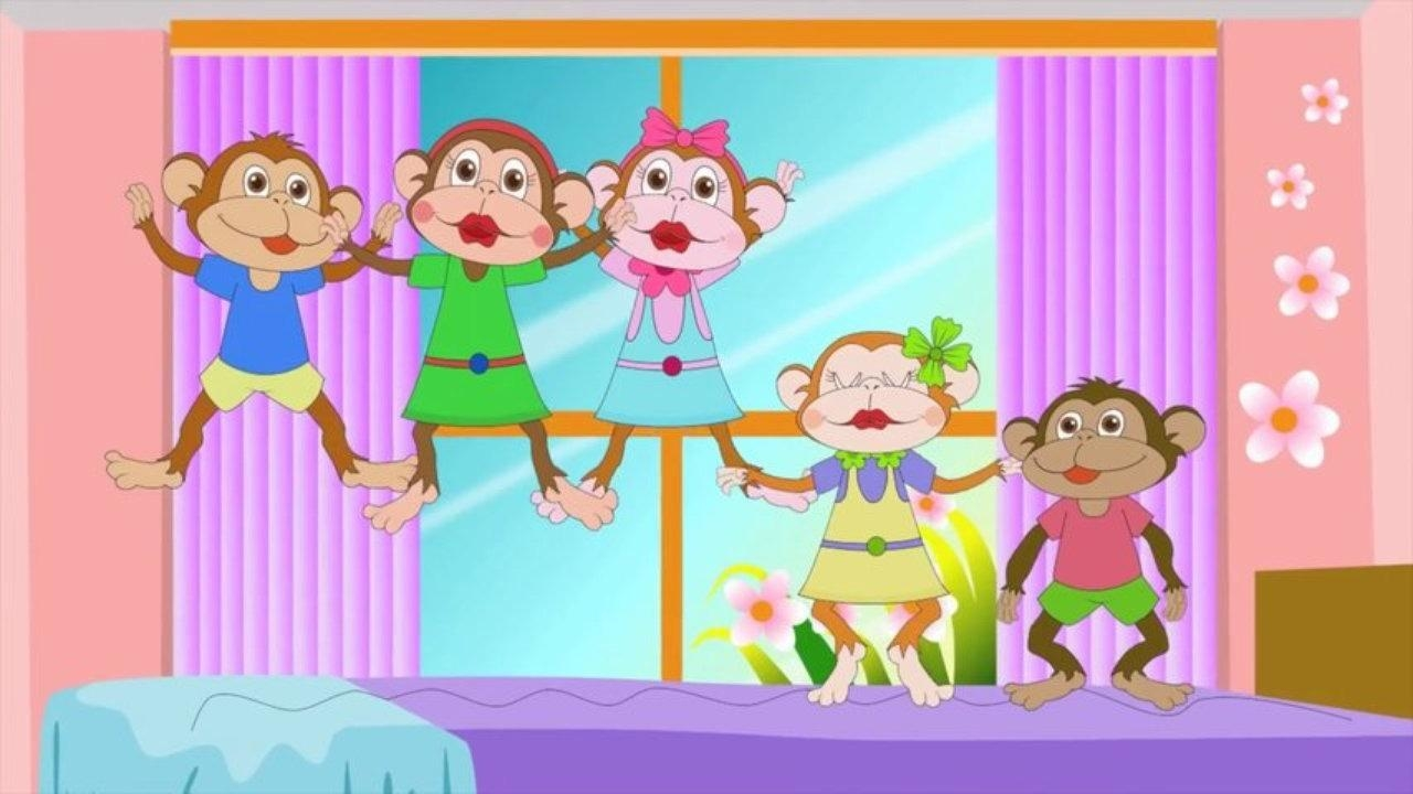Five Little Monkeys Jumping On The Bed With Lyrics – Kids Songs Within No More Monkeys Jumping On The Bed Wall Art (View 17 of 20)