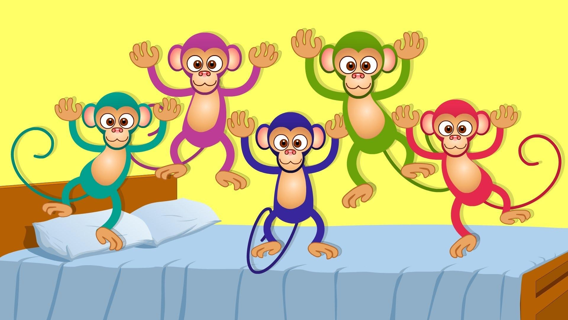 Five Little Monkeys Kids Songs And Nursery Rhymes For Children Intended For No More Monkeys Jumping On The Bed Wall Art (Image 14 of 20)