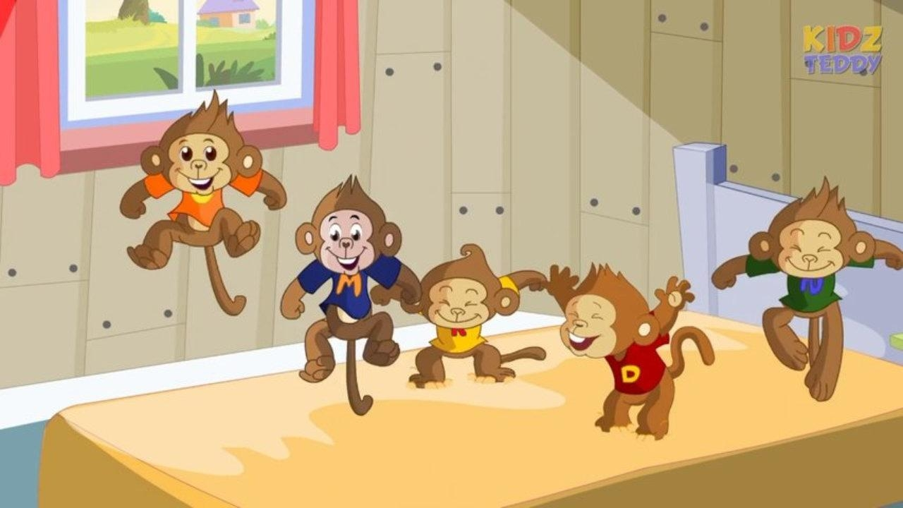 Five Little Monkeys – Nursery Rhyme In English With Full Lyrics With Regard To No More Monkeys Jumping On The Bed Wall Art (View 6 of 20)