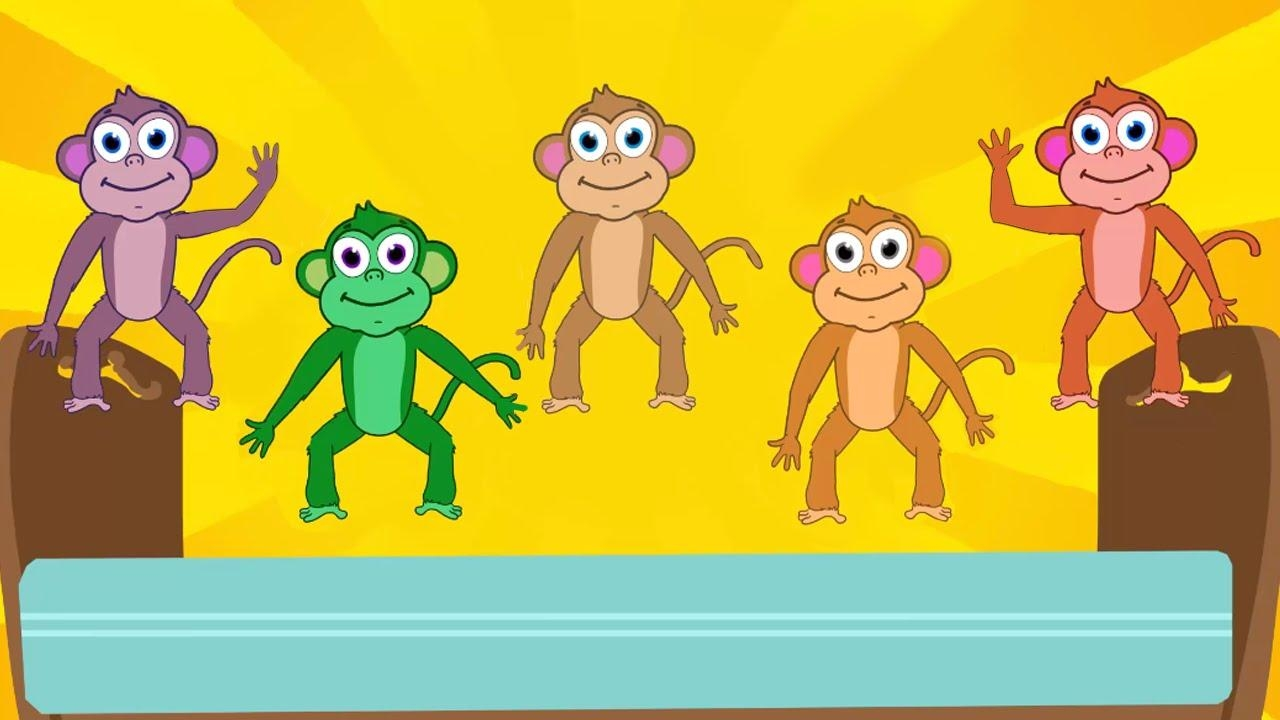 Five Little Monkeys Nursery Rhymes Lyrics / Collection Of Kids Throughout No More Monkeys Jumping On The Bed Wall Art (Image 15 of 20)