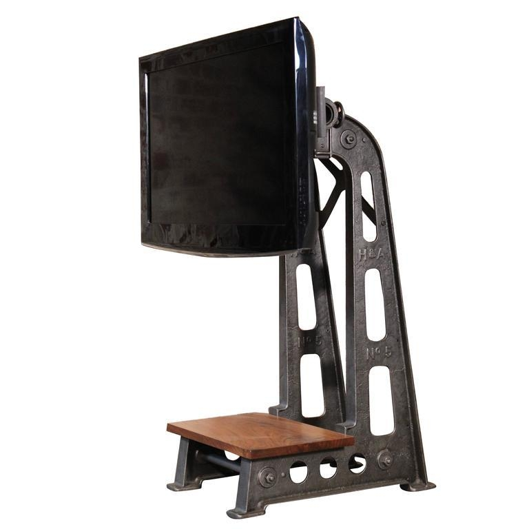 Flat Screen Tv Stand Vintage Industrial Cast Iron Media Screen With Recent Cast Iron Tv Stands (Image 8 of 20)
