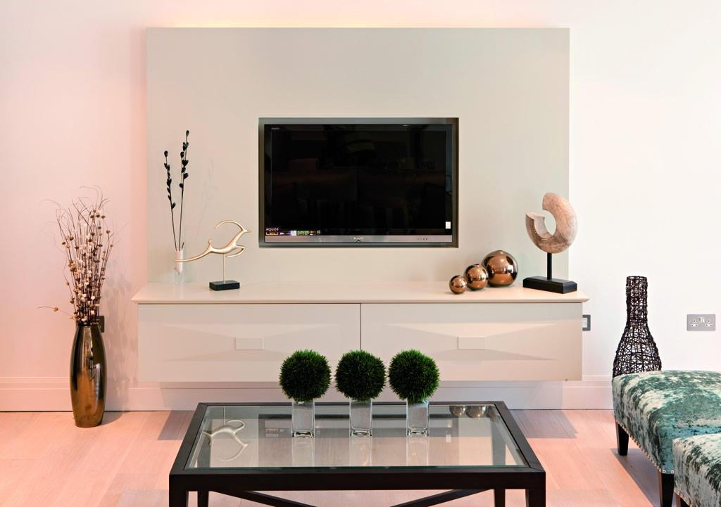 Flat Screen Tv Wall Cabinets Offering Space Saving Furniture Ideas In Most Popular Wall Mounted Tv Stands For Flat Screens (View 13 of 20)