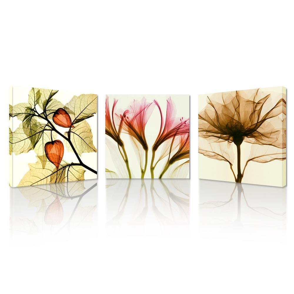 Flickering Flowers Modern Canvas Wall Art – Modern Wall Art Home Pertaining To Wall Art Sets Of (View 20 of 20)