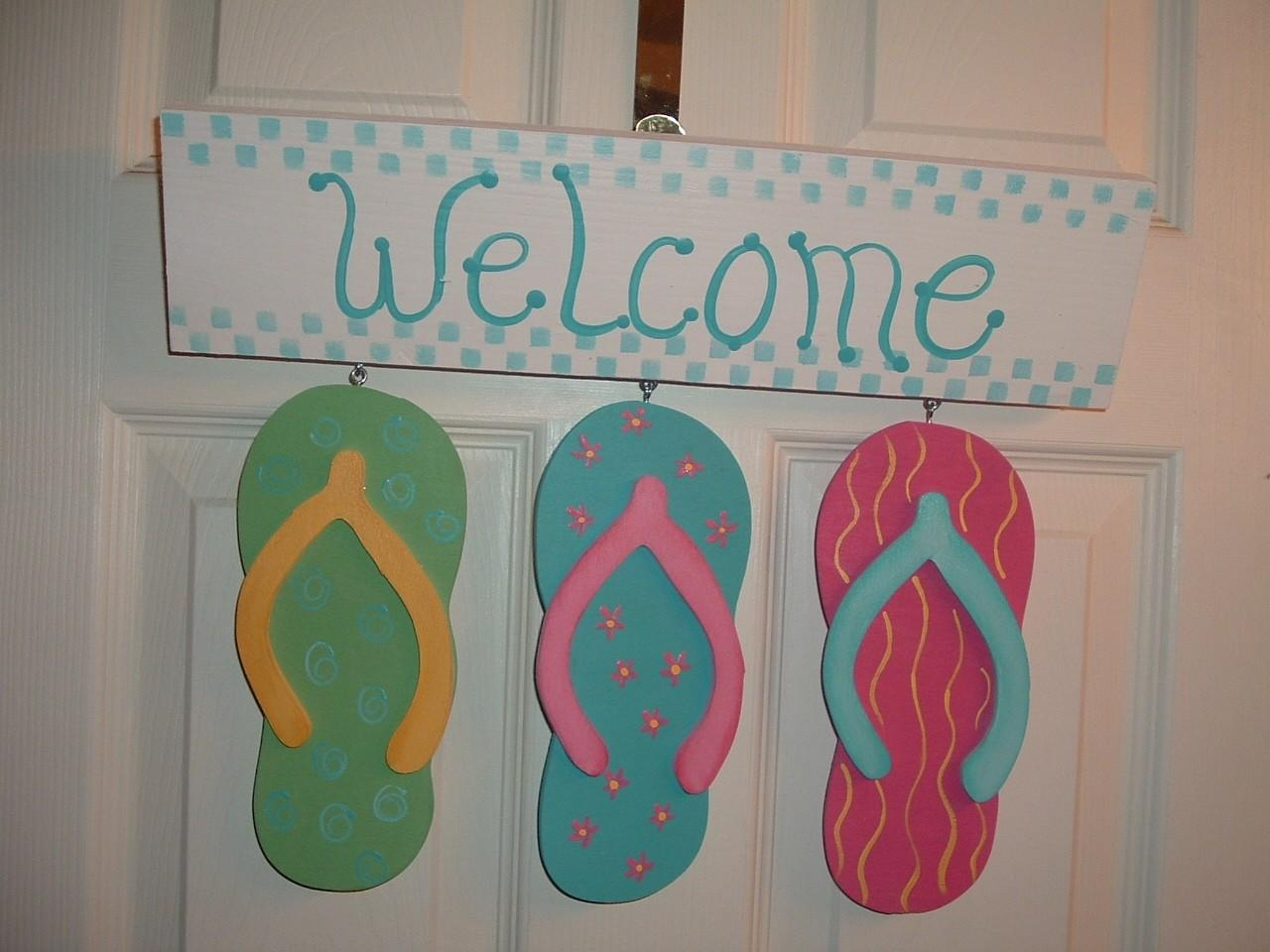 Flip Flop Welcome Door Or Wall Hanging Sign With Regard To Flip Flop Wall Art (Image 12 of 20)