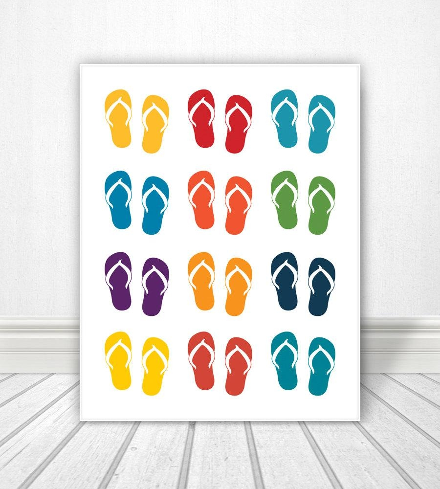 Flip Flops, Sandals, Sandals Print, Wall Art, Pool, Pool Sign, Art With Regard To Flip Flop Wall Art (Image 13 of 20)