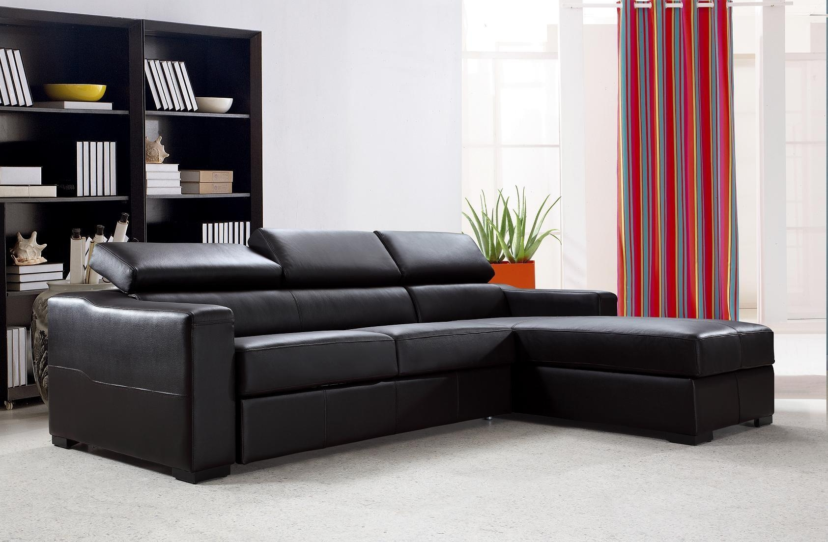 Flip Reversible Espresso Leather Sectional Sofa Bed W/ Storage For Leather Storage Sofas (View 7 of 21)