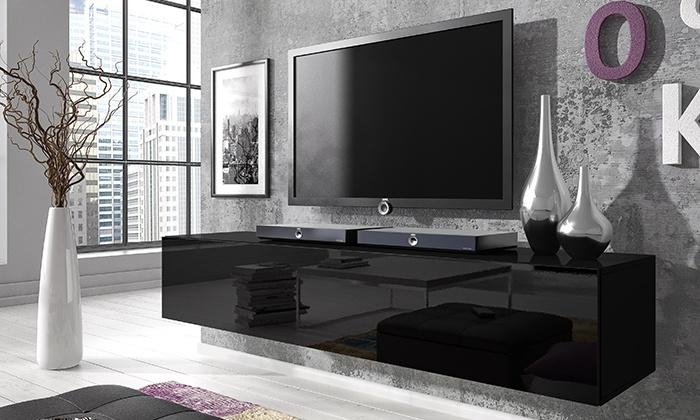 Floating Gloss Tv Cabinet | Groupon Goods Within Latest Black Gloss Tv Wall Unit (Image 9 of 20)