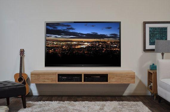 Floating Media Stand Contemporary Blonde Tv Cabinet – Mayan Regarding 2018 Floating Glass Tv Stands (Image 8 of 20)