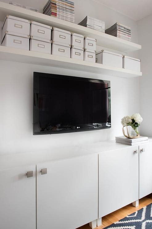 Floating Shelves Over Tv – Transitional – Living Room With Most Recent Over Tv Shelves (Image 15 of 20)