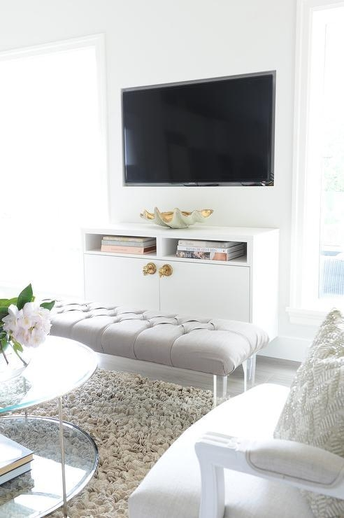 Floating Tv Cabinet With Gold X Bench – Contemporary – Entrance/foyer Intended For Current Gold Tv Cabinets (Image 10 of 20)