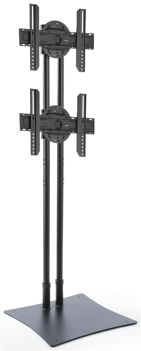 Floor Standing Dual Monitor Display | Black Steel Intended For Newest Dual Tv Stands (Image 10 of 20)