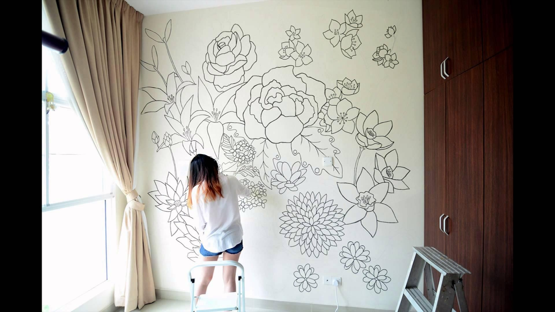 Floral – A Sharpie Wall Mural – Youtube Regarding Sharpie Wall Art (Image 11 of 20)
