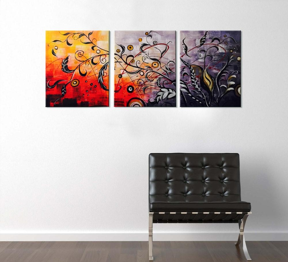 Floral Oil Painting 3 Piece Artwork Throughout 3 Piece Floral Wall Art (Image 9 of 20)
