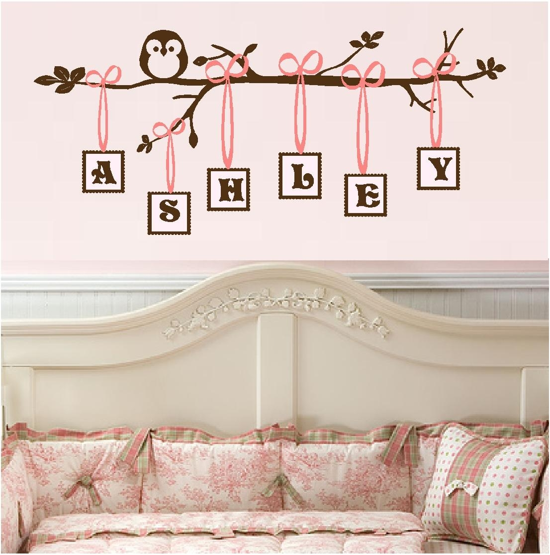 Flower Border Vinyl Decal Wall Stickers Baby Girls Room Decor #035 Regarding Wall Art For Little Girl Room (View 10 of 20)