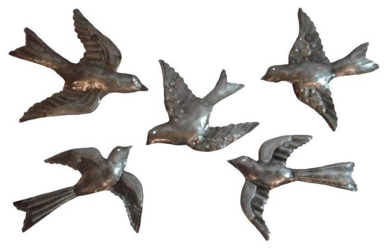 Flying Birds Metal Wall Art Sculpture 5 Small Flock Birds | Home For Metal Flying Birds Wall Art (Image 6 of 20)